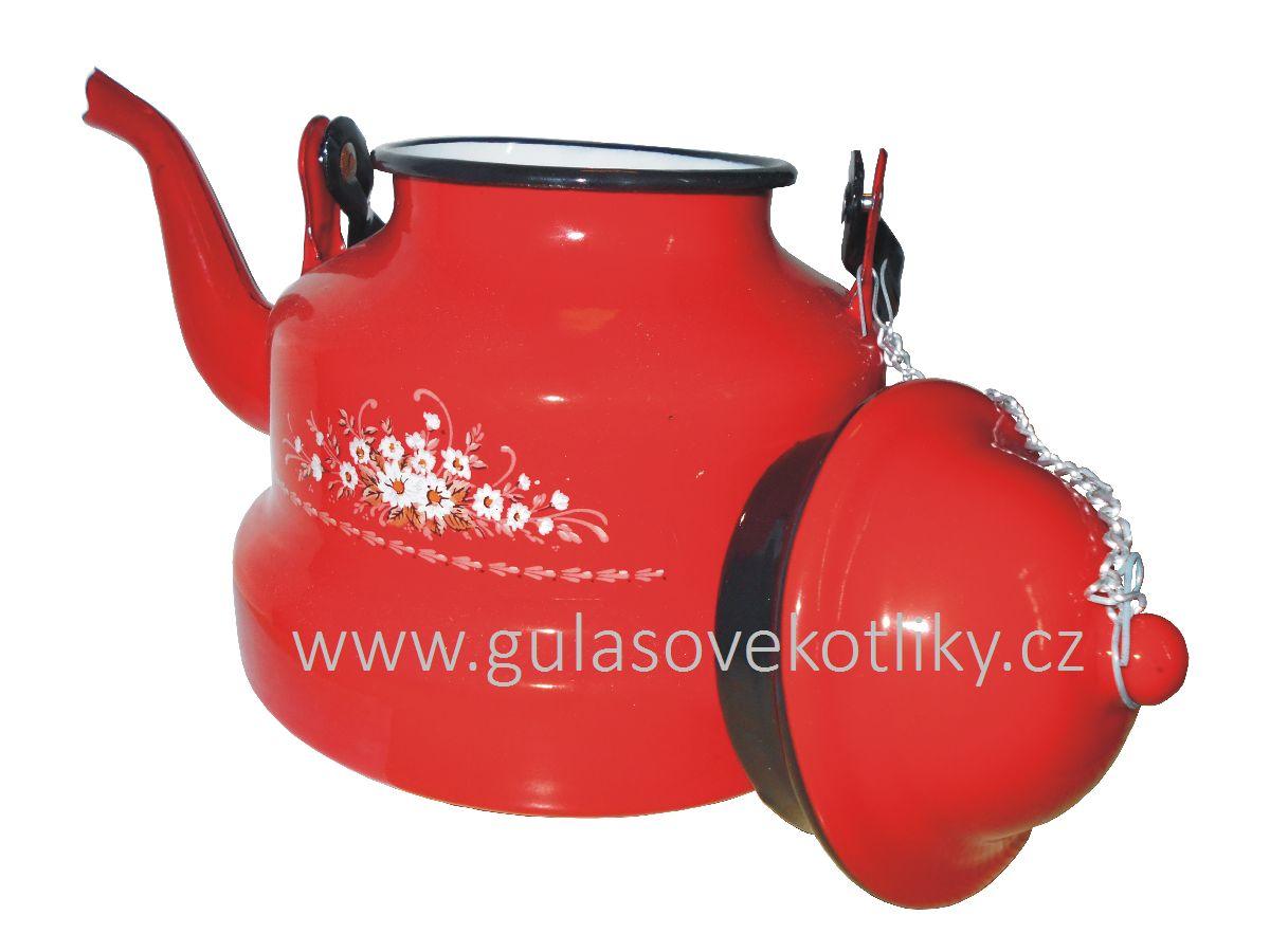 čajník červený smaltovaný s květy 2 l
