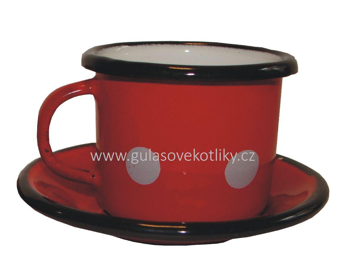 červený smaltovaný hrnek na kávu s podšálkem s puntíky 0,1 l